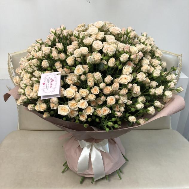 Букет из 51 кустовой кремовой розы