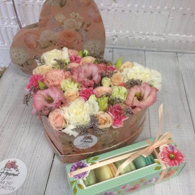 Heart with flowers and box of macaroons
