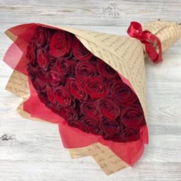 Букет из 29 красных роз (50 см, Эквадор)