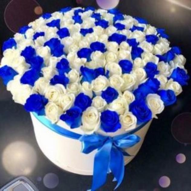 Шляпная коробка из 101 белой/синей розы
