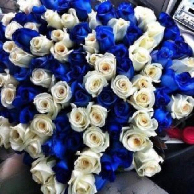 Букет из 101 синей/белой розы