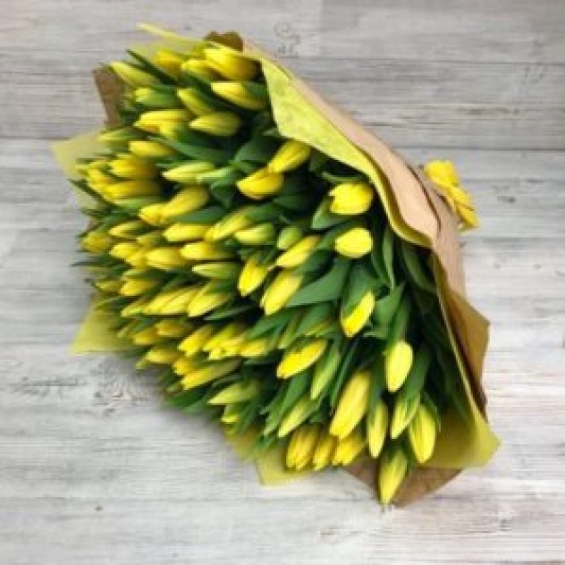 Букет из 101 желтого тюльпана (40 см)