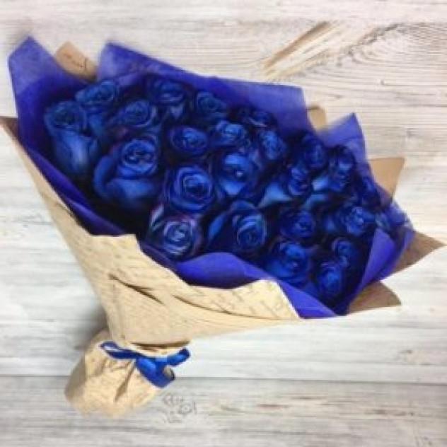 Букет из 25 синих роз (70 см, Эквадор)