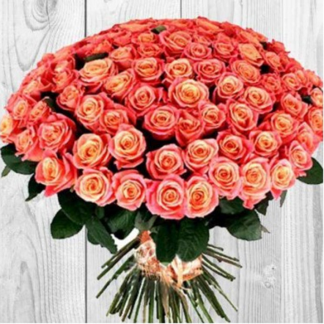 "101 роза ""Оранжевое солнышко"""