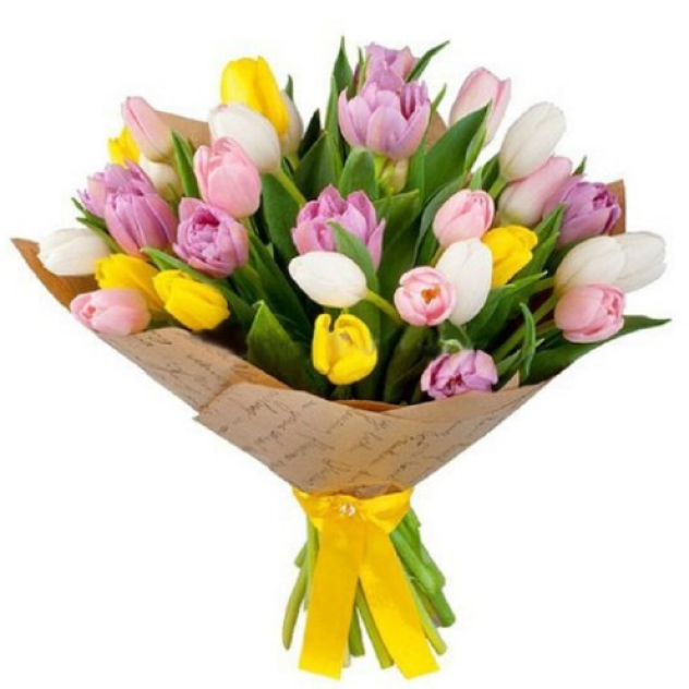 Букет из 35 тюльпана