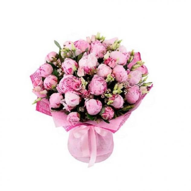 Букет из 31 розовых пионов с шамелациум