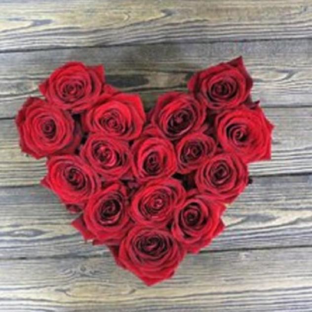 Сердце из красных 15 роз
