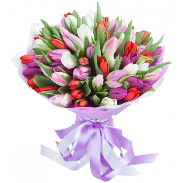 Bouquet of 51 colorful tulips