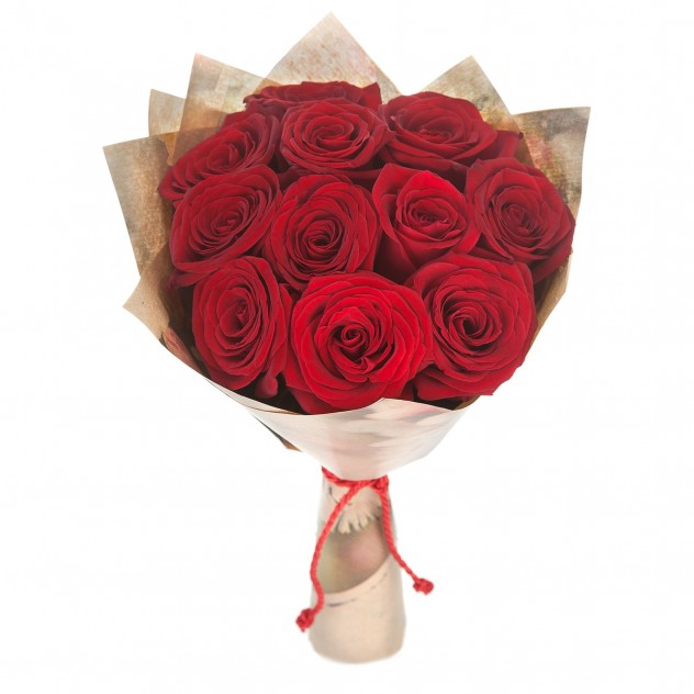 Bouquet of 11 red roses in craft