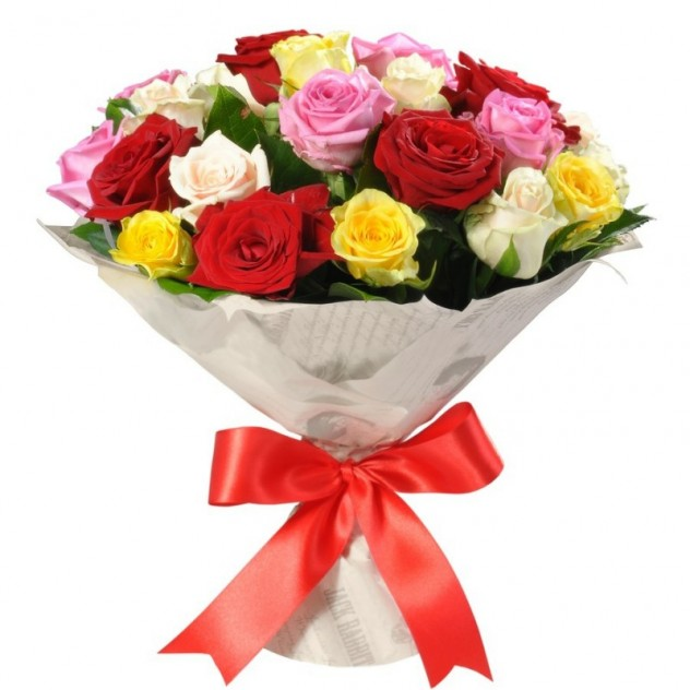 Bouquet of 25 colorful roses