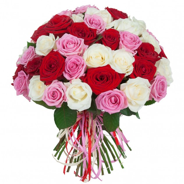 Bouquet of 51 red, white and pink roses