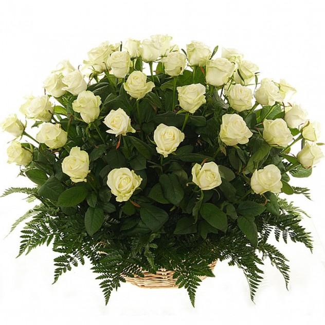 Basket of 51 white roses No. 5
