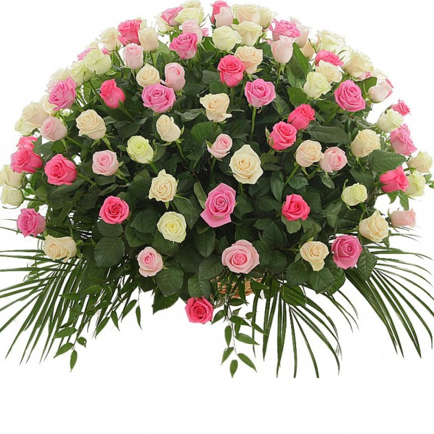 Basket of 101 delicate roses No. 5