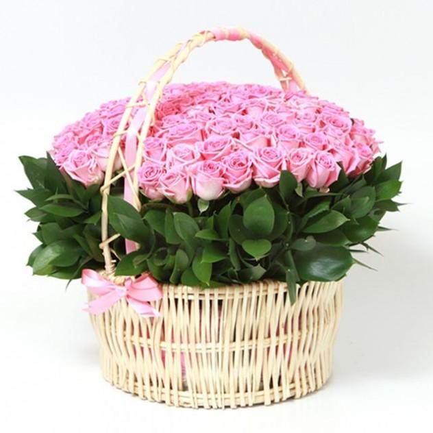 Basket of 101 pink roses No. 4