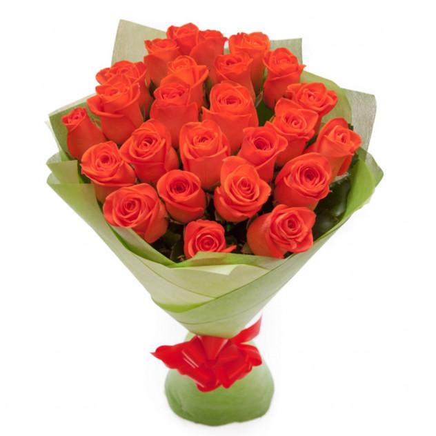 Bouquet of 25 orange roses in felt