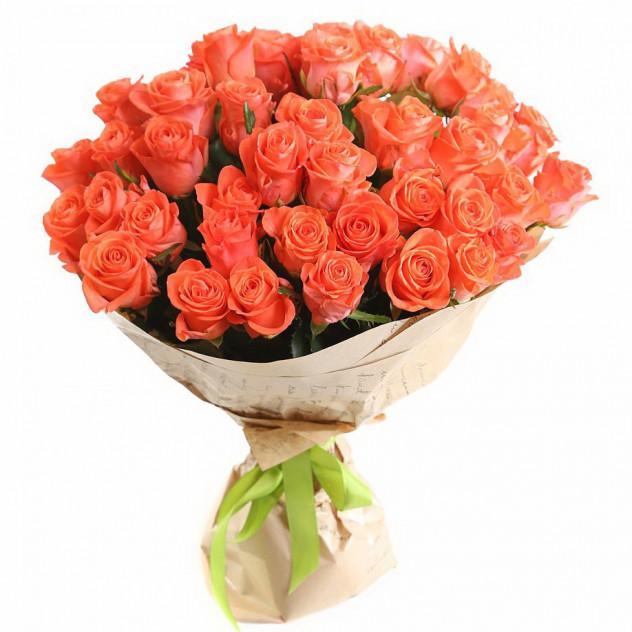 Bouquet of 51 orange roses in craft
