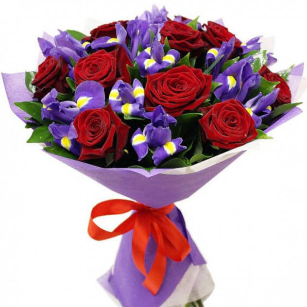 Bouquet of roses and irises