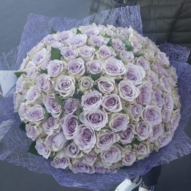 Букет 101 роз фиолетовый