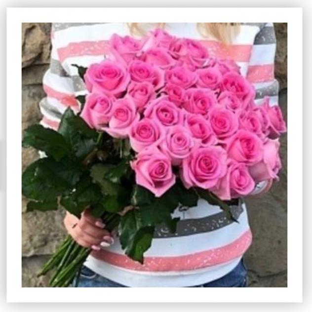 25 розовых роз в букете