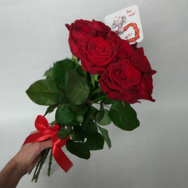 9 красных роз в букете