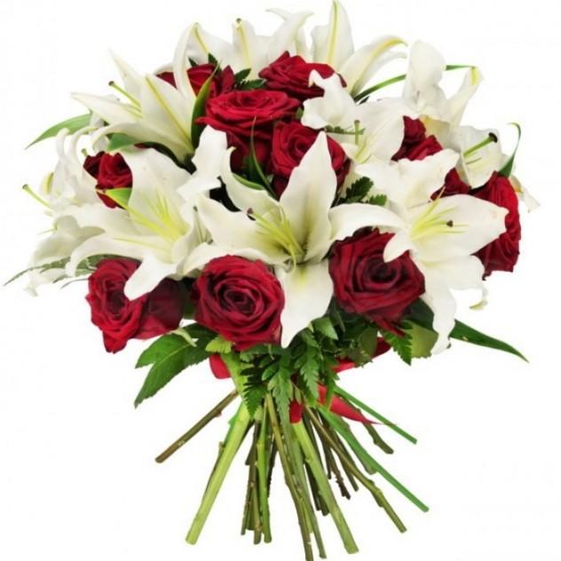 Букет, букет лилии и розы фото