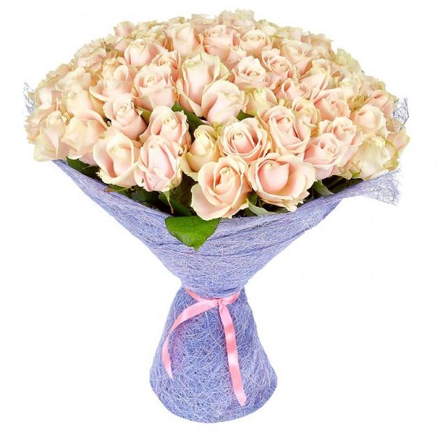 Букет из 101 кремовой розы № 5