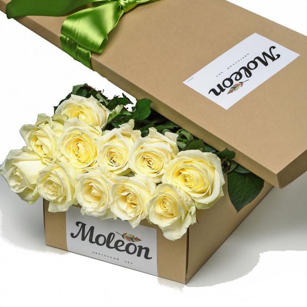 11 белых роз в подарочной коробке