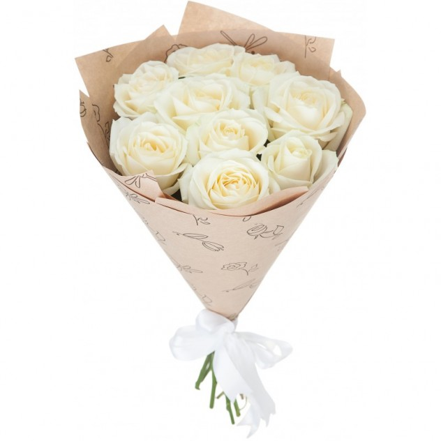 Bouquet of 11 white roses in craft