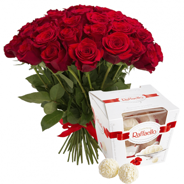 Bouquet of 25 red roses and Raffaello