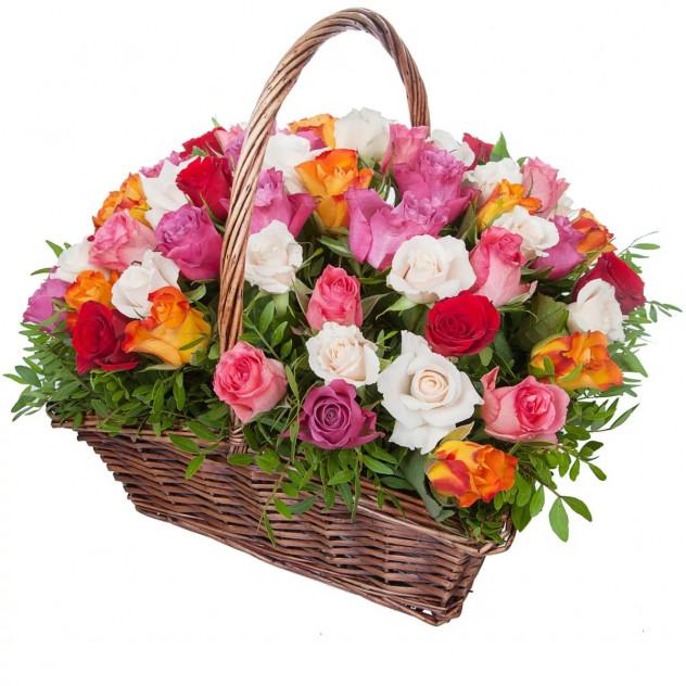 Basket of 51 Kenyan roses