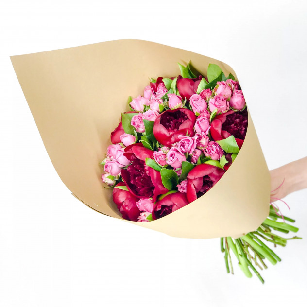 Bouquet of roses and peonies
